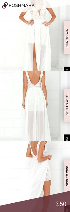 White Lulu's dress! White/beige lace dress with floor length sheer overlay Worn once Minor stain to back no tears! Lulu's Dresses Maxi