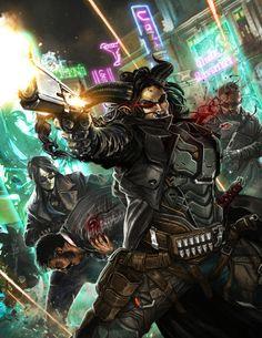 Cyberpunk Cover Art: Hard Targets by django-red Art Cyberpunk, Cyberpunk Character, Character Concept, Character Art, Character Ideas, Concept Art, Shadow Runner, Shadowrun Rpg, Shadowrun Returns