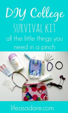 Here are some life hacks to keep in your bag or backpack to make sure you are always prepared for an emergency! Every college student should have one of these! College Mom, College Hacks, College Commuter, Survival Kit Gifts, Survival Gear, Freshman Tips, College Supplies, College Survival, University Survival
