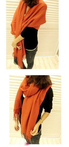 Women Winter Long Scarf Knitted Scarves Tassel Fringe