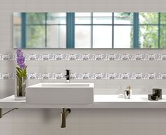 The Streamline series from Florida Tile can effectively replace indecision with satisfaction, courtesy of the latest in tile coloration, stylistic elements and trim. Ceramic Tile Bathrooms, Grey Bathroom Tiles, Ceramic Wall Tiles, Grey Bathrooms, Porcelain Tile, Flooring Store, Stone Countertops, Guest Bath, Kitchen And Bath