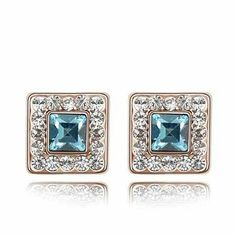 Austrian Crystal Square Stud Earrings via LAU ACCESSOIRES. Click on the image to see more!