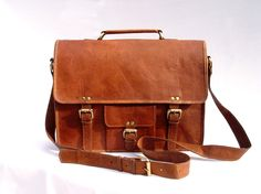 353566411d34 Leather Messenger Bag   Satchel - Vintage Retro Looking - (Medium).  95.00