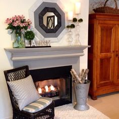 To start the week...sometimes simple is the best....Happy #MantelMonday #mypotterybarn #makehomeyours #fireplace #cozy