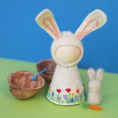 Spring Bunny Waldorf inspired pegdoll and walnut Easter