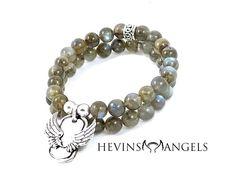 HEVINS ANGEL ~ 8mm Labradorite w/ Lava stone stretch wristband