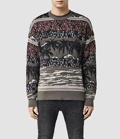 Mens Rattan Crew Sweater (Khaki Green) - product_image_alt_text_1