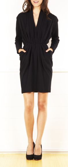 Donna Karan black long sleeve dress