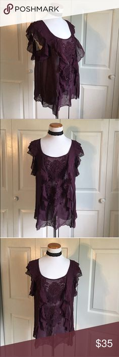 Anthropologie Floreat Silk Top Plum purple 100% silk blouse from anthropologie. Very Flowy and feminine. In great condition, no flaws except for a slightly damaged tag. Anthropologie Tops Blouses