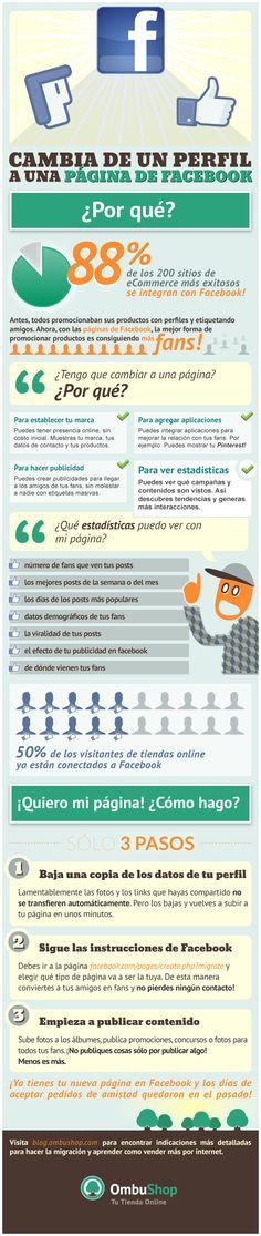 Cambia de un perfil a una página en FaceBook #infografia