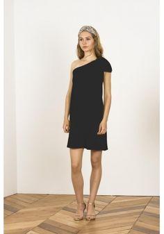 Vestido asimétrico negro lazo