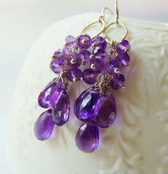 Amethyst cluster silver earrings. February birthstone earrings. Amethyst earrings. Purple Amethyst gemstone cascade. Mother's Day by TatianaG on Etsy
