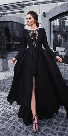 33 Beautiful Black Wedding Dresses That Will Strike Your Fancy ❤ black wedding. 33 Beautiful Black Wedding Dresses That Will Strike Your Fancy ❤ black wedding dresses ball gown with long sleeves slit lace neckline olyamak ❤ Ball Dresses, Evening Dresses, Prom Dresses, Dresses With Sleeves, Debut Dresses, Black Gown With Sleeves, Dresses Dresses, Satin Dresses, Dance Dresses