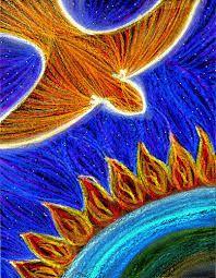Pentecost Bulletin Cover - Pentecost worship image - Pentecost drawing Holy Spirit descending on the Earth at Pentecost Worship Images, Pentecost, Sacred Art, Art Pages, Holy Spirit, Fire, History, Drawings, Artwork