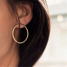 1 Pair Fashion Women Elegant Geometric Round Circle Ear Stud Earrings Jewelry