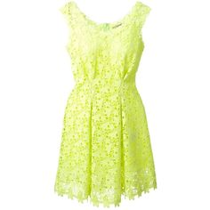 Ermanno Scervino Floral Lace Dress (€585) ❤ liked on Polyvore featuring dresses, vestidos, green, green dress, yellow floral dress, floral cocktail dress, lacy dress and floral dress