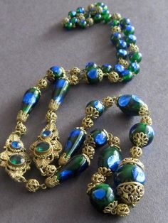Estate Find..Rare Art Deco Bohemian Czech Peacock Foil Glass Bead Necklace 30''