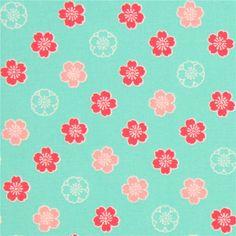 http://www.kawaiifabric.com/en/p10998-light-green-fabric-cute-pink-hot-pink-light-green-flower-from-Japan.html