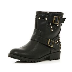 Girls black embellished biker boots #riverisland #rikidswear