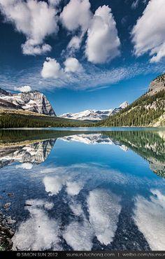 The reflection of Lake Ohara, Canada