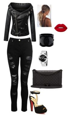 """Untitled #61"" by renelleboodoosingh on Polyvore featuring Dorothy Perkins, Christian Louboutin, Chanel, Lime Crime and Gucci"