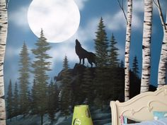 Birch trees and wolves in the snow mural idea as seen on www.findamuralist.com