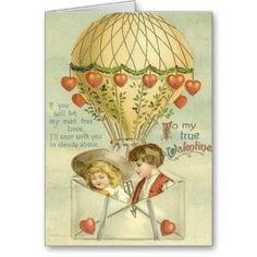 Vintage Valentine Hot Air Balloon Card