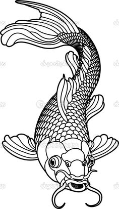 Koi Carp Detailed Coloring Page | koi carp black and white fish - Stock Vector