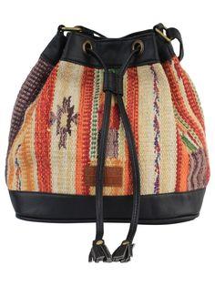 Multi Color Black Cotton Kilim Faux Leather Bucket Bag