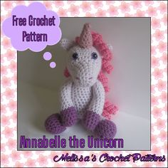 Free crochet pattern on Ravelry! Annabelle the Unicorn.
