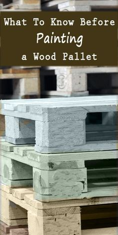 Pallet Furniture Projects What to Know Before Painting a Wood Pallet~Talks about what to look for in a pallet, and what to avoid. - Wood pallets are a great, sometimes even free, material to use for your DIY and craft projects, and you can… Read Diy Pallet Projects, Diy Projects To Try, Home Projects, Craft Projects, Pallet Crates, Wooden Pallets, Pallet Benches, Pallet Couch, Pallet Tables