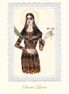 Saint Lucia in Dolce & Gabbana by Lucio Palmieri Illustration.Files: Dress Up the Saints | Draw A Dot.