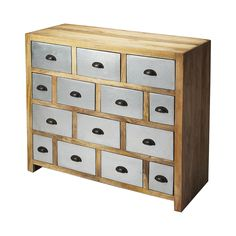 Elegant and stately, the Charmaine Drawer Chest invokes a decidedly periodic design era with an emphasis on rustic. You'll love the tender interplay of natural wood and finished wood drawers with touch...  Find the Charmaine Drawer Chest, as seen in the The Industrial Refinery Collection at http://dotandbo.com/collections/the-industrial-refinery?utm_source=pinterest&utm_medium=organic&db_sku=106957