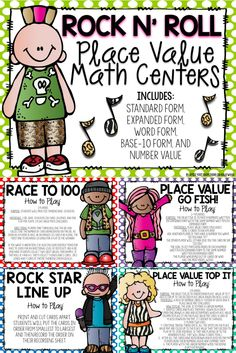 Place value centers!! Rock N' Roll Themed!
