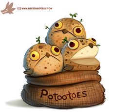 cryptid-creations: Daily Paint #1152. Potootoes by Cryptid-Creations Time-lapse…