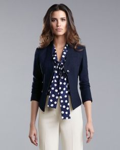 Like the blouse and jacket-both color and silhouettes. Could not wear pants that light