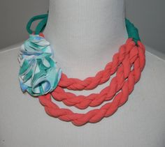 CHILD's Coral Turquoise & Tie Dye adjustable Necklace from repurposed Tshirts by embelLUSHme, $14.00