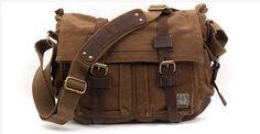 Messenger Vintage Leather Camera Bag Canvas by cameraleatherbelt, $70.00