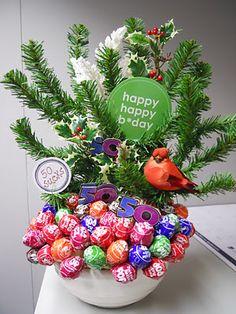 Sucker bouquet for a milestone birthday around Christmas time. Sucker Bouquet, Candy Bouquet, Christmas Candy, Christmas Time, Christmas Bulbs, Happy 50th, Happy B Day, Milestone Birthdays, Gifts For Family