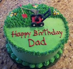 "Landscapers birthday cake - 10"" round frosted and decorated with Pastry Pride. All decorations are made of gumpaste."