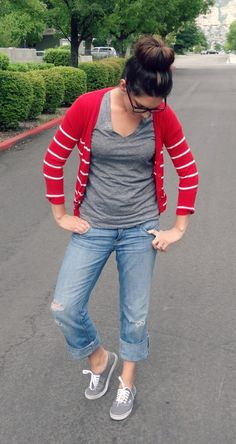 Love the gray vans mixed with the red stripes and boyfriend jeans. Super causal cute. // The Dime Diary
