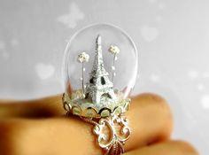 How cute is this? Ring Eiffel TowerParis in the snowTerrarium ring glitter by HoKiou, $69.00