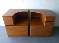 Pair Of Mid Century Modern Dixie Scova Teak End Table Night Stands. Asking $599