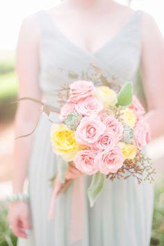 pastel bridesmaid bouquet http://www.weddingchicks.com/2013/09/20/vintage-destination-wedding/