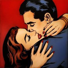 Red lips red nails pop art comic