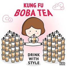 Tea Facts, Tea Logo, Bubble Milk Tea, Cafe Wall, Food Drawing, Fb Page, Food Illustrations, Logo Ideas, Kung Fu