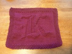 Beautiful Old English monogram Letter K! Hand Knit K in Calligraphy Old English Cotton Dishcloth or Washcloth