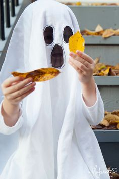 Ghost costume with transparent black eyes & mouth The Makerista: Making Memories: October 2013