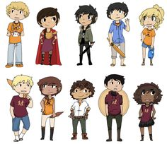 Will Solace, Reyna Ramírez-Arellano, Nico di Angelo, Percy Jackson, Annabeth Chase, Jason Grace, Piper McLean, Leo Valdez, Frank Zhang & Hazel Levesque | art by thesparkofrevolution