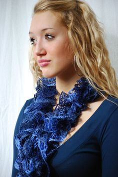 Mother's Day Gift  Dark Blue & Periwinkle Ruffled by AquaLumen, $30.00